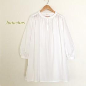 スタンドカラーさらふわギャザーシャツ(white)