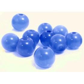 ★60個★約8×7.5mm★ミルキーライトブルー●ガラスビーズ●