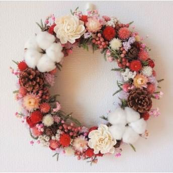 [受注制作]ピンクのお花のクリスマスリース2018