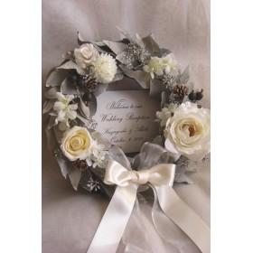 ウェルカムボード リース(ホワイトユーカリ)結婚式 プリザーブドフラワー ウェディング / 受注製作
