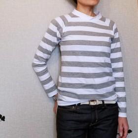 再販です。ラグランスリーブボーダーTシャツ グレー Mサイズ