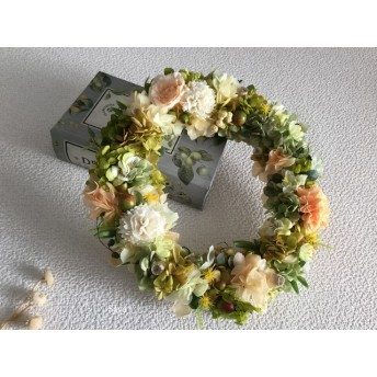 White carnation x Creamy peach  wreath 春待ちリース
