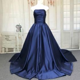 高級なサテン素材、カラーウェディングドレス、リボン付け、色変更無料
