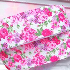 【8353】2m350円 38mm幅 グログランリボン フラワー 花柄 バラ ローズ