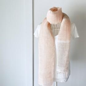 【ベルギーリネン:オールシーズン】ユニセックス:手織りストールSoft Pink & Gray Vol.4