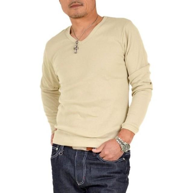 (SantaReet/サンタリート)長袖フライスVネックTシャツ(NF-95774)/メンズ ベージュ