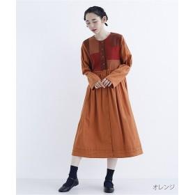 メルロー コットンパッチワークワンピース7934 レディース オレンジ FREE 【merlot】
