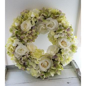 季節のリース 紫陽花&薔薇のアンティークカラー ウェルカムリース ドア玄関 お部屋インテリア