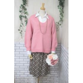 セーター ウール100%手編みなのに安価 ゆったりサイズ S044