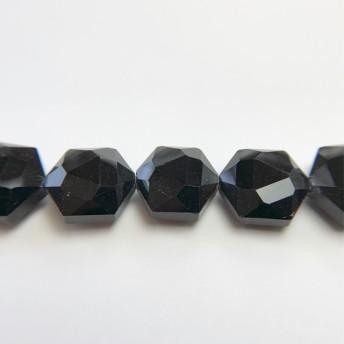 095 16個セット 六角形 ガラスビーズ ブラック