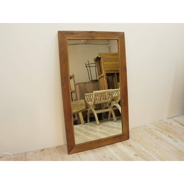 古材 古木 オールドチーク材のミラー 100cm×60cm ナチュラルラスティック 壁掛け鏡 チーク無垢材フレーム