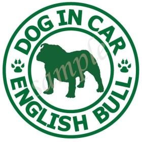 犬 (イングリッシュブルドッグ_白緑)防水ステッカー 車用