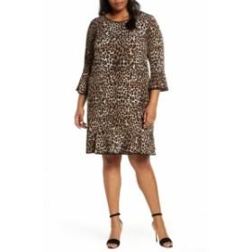 マイケルコース レディース ワンピース トップス MICHAEL Michael Kors Animal Print Flounce Hem Shift Dress (Plus Size) Dark Camel