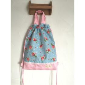 《SALE!》イチゴとチェックがかわいい体操着袋(ブルー)