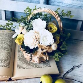 バスケットアレンジ Lucile(リュシール)敬老の日 母の日プレゼント ウェディング 結婚祝 お誕生日お祝い プリザーブドフラワー フラワーギフト敬老の日 紫陽花