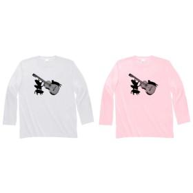 ギターと黒猫の長袖Tシャツ