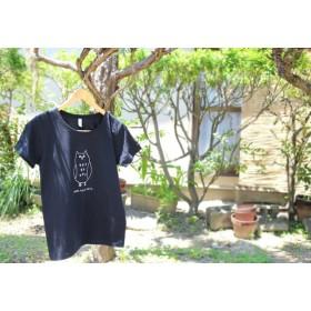 フクロウさんレディースTシャツ(ブラック)