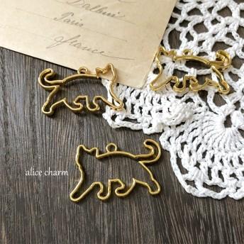 【A17-2B】5個 ゴールド おさんぽ猫 空枠チャーム レジン枠
