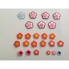【訳あり商品】お花ワッペン ピンク色 24枚セット きらりぼんら