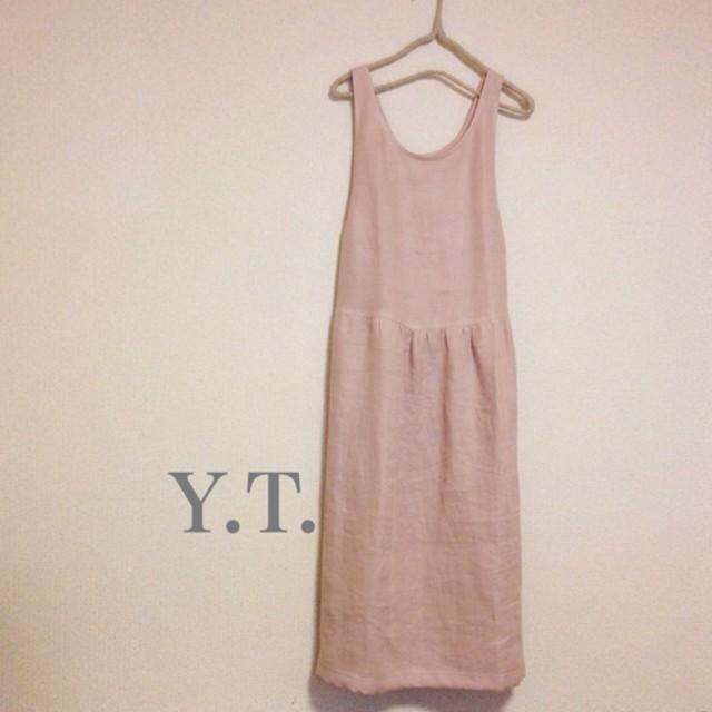 リネンWガーゼ 後ろリボン kusumi pink ジャンパースカート