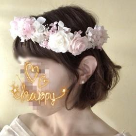 ヘッドドレス☆アジサイ・バラの花冠 プリザーブド ブライダル ウェディング