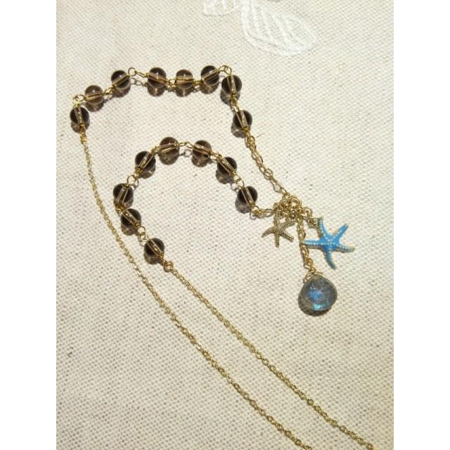 青ヒトデと天然石スモーキークォーツのネックレス