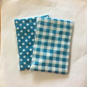 ガーゼ マスク チェック&ドット柄 水色 2枚セット 子供用 給食 風邪 花粉