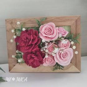 【SALE】カーネーションとバラのフレームアレンジ*クレイフラワー*赤×ピンク