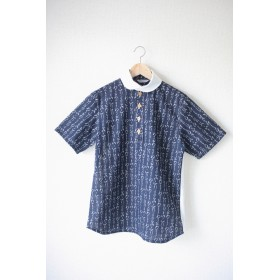 Men's ひらがな半袖 x 白ダブルガーゼコットンシャツ (no.040)