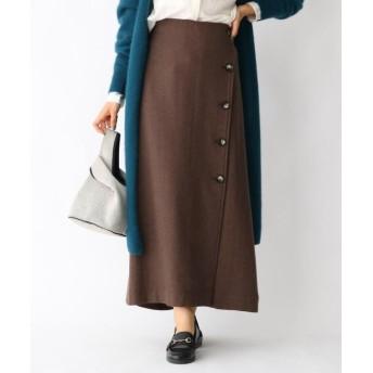 aquagirl ウール混ボタンAラインスカート