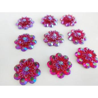 昭和レトロ風 ピンク フラワー花 カボション モチーフパーツ CB737