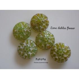 lime & silver  dahlia flower チェコビーズ 4個