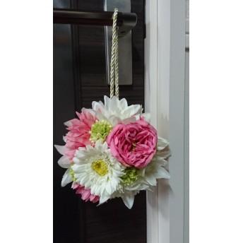 【アーティフィシャルフラワー】ピンクのガーベラのボールブーケ 結婚式二次会や七五三にコロンとかわいいブーケ