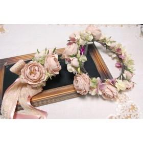 大人可愛い!ニュアンスピンクの花冠&リストレット&ブートニア