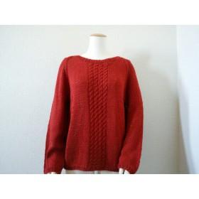 ケーブル模様のコットン&麻のセーター