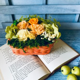 ランキングインお礼 ビタミンカラーのバスケットアレンジ リザーブドフラワー結婚祝い お誕生日 フラワーギフトカゴアレンジ 母の日プレゼント