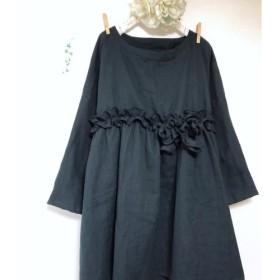 ️リボンフリルの切り替えチュニック ️ふわふわダブルガーゼ ️黒×黒 ️長袖 ️身幅調整/お色変更可 ️