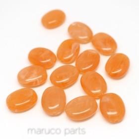 マーブル天然石調*オバール*20個*両穴*楕円*ストーン調*オレンジ*beads-056
