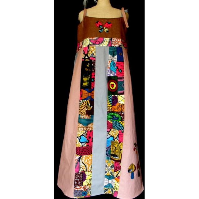 アフリカ布のパッチワークのロングワンピース