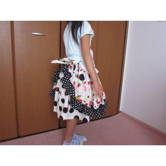 アリスのウサギロリータ風スカート130☆ブラック×フルーツ☆