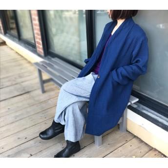 M~Lサイズ、身幅55、トリプルガーゼのローブロングコート、ポケット付き