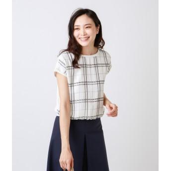 NEWYORKER L チェックプリント ブラウスカットソー(スーツインナー対応) Tシャツ・カットソー,ホワイト(01)