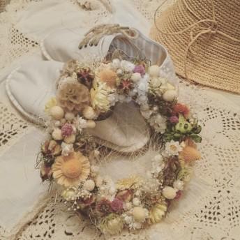 メキシカンハットといろいろ小花の真夏リース Ssize