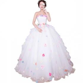 ウェディングドレス 結婚式 二次会 花嫁ドレス 妊娠さんもOK カラードレス 可愛い パーティードレス 花付き ふんわり 編み上げタイプ ブライダルドレス (S, ホワイト)