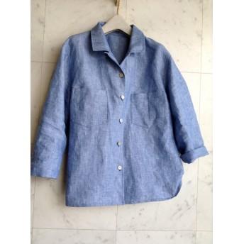 リネンダンガリーシャンブレー ブルーの大人シャツ