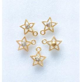 A級ガラスストーン使用星のチャーム/クリア