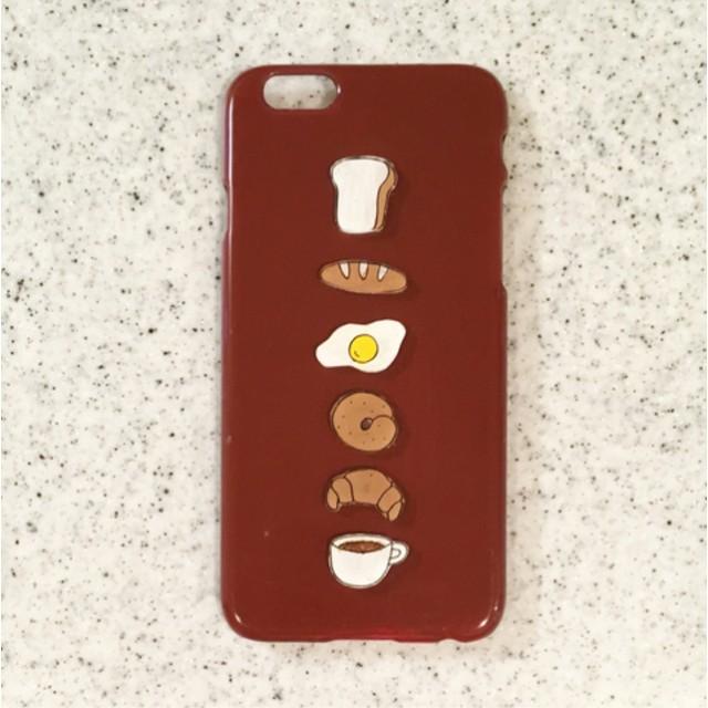 朝ごはん☆プラ板のiPhoneケース☆シンプル☆パン☆コーヒー☆目玉焼き☆かわいい