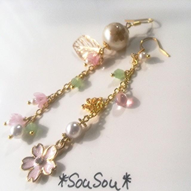 再販sousou春風の桜ピアス ~パールとパステルな桜の風~