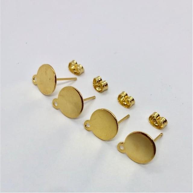 【463】ステンレス カン付き 平皿ピアス ゴールド 4個