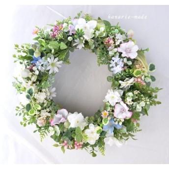 花のささやき 白いデージーと紫陽花のリース:ピンクと白 リース